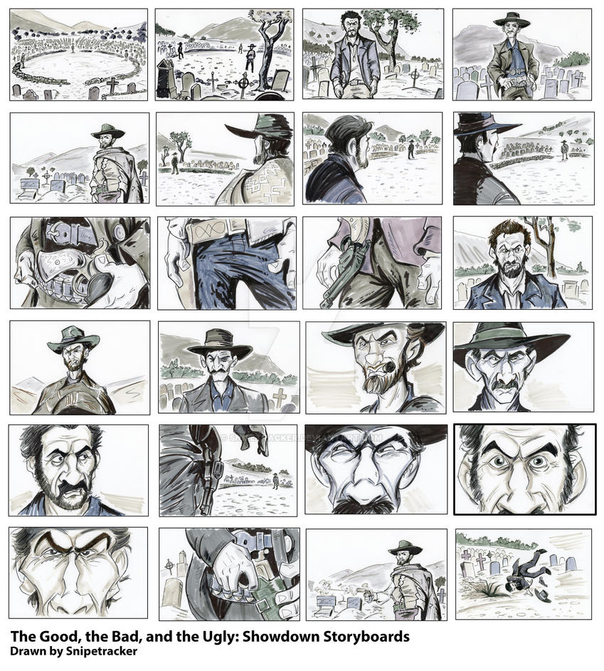 The Good Bad And Ugly Showdown Storyboards By