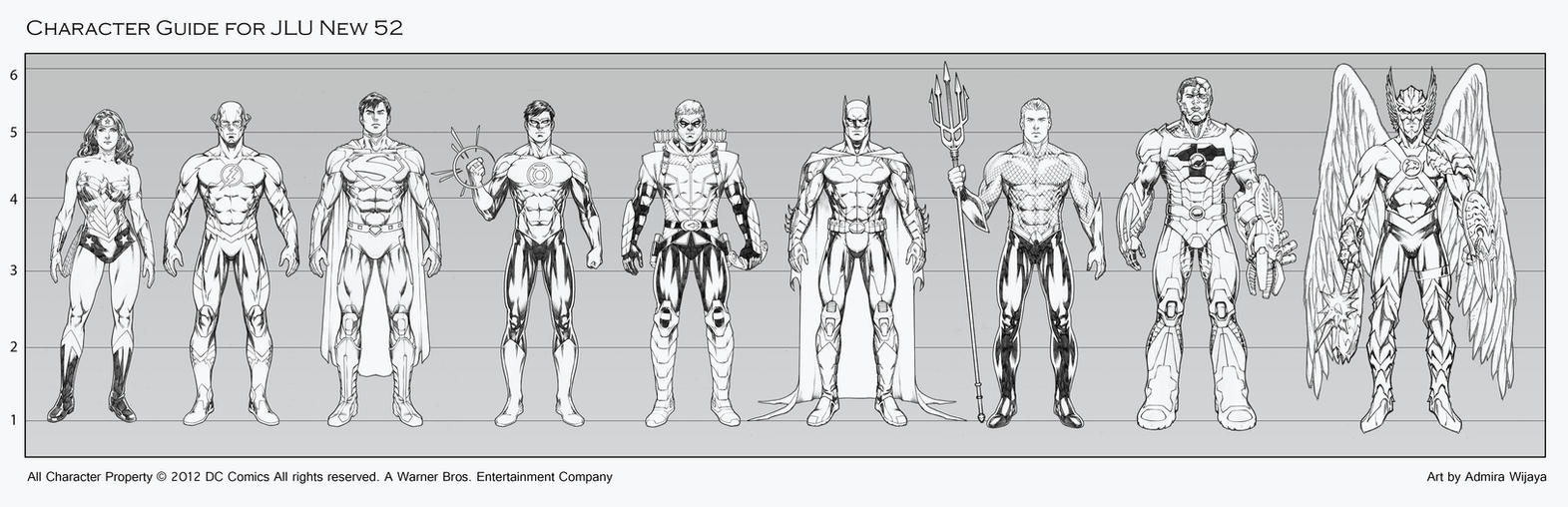 JLU Character Guide new 52 by AdmiraWijaya