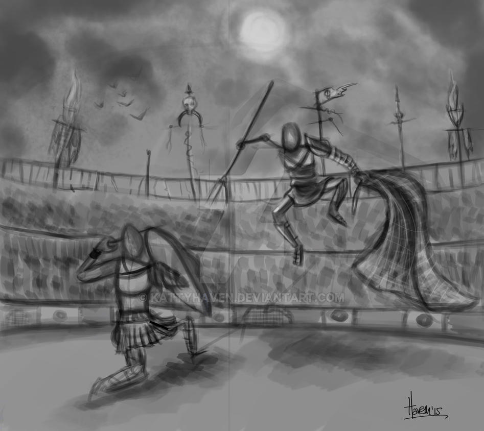 Fight in moonlight - idea sketch by kattyhaven