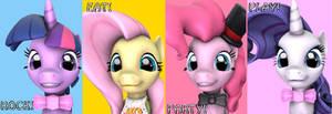 Twilight, Fluttershy, Pinkie and Rarity. by DarkPinkMonster