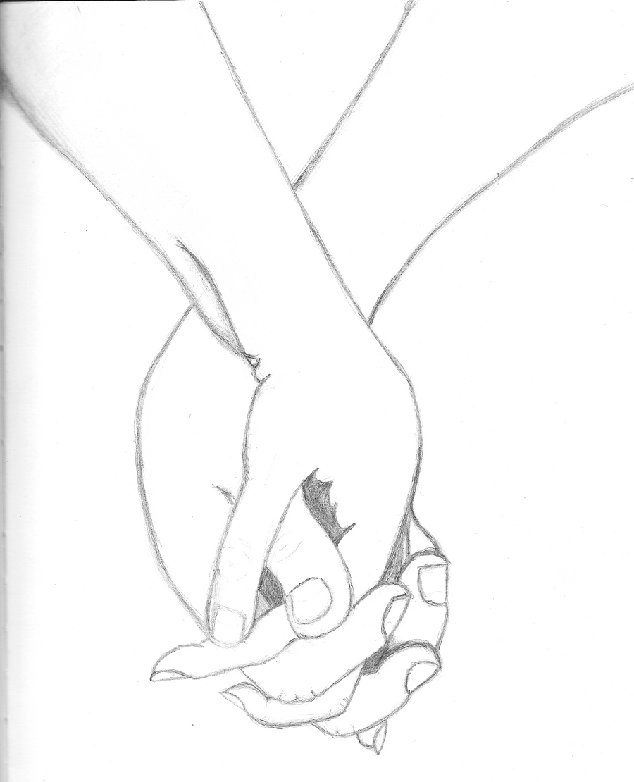 Holding hands -uncoloured- by shinwa123 on DeviantArt