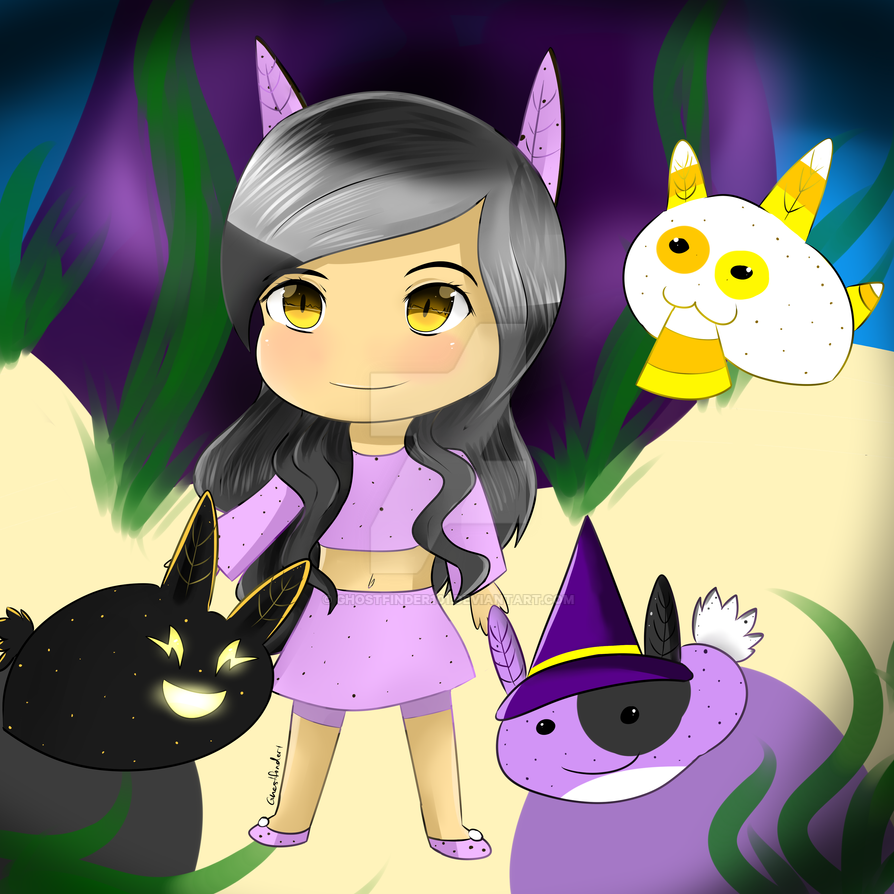 aphmau with halloween sea bunnies by ghostfinder101
