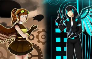 Steampunk vs Cyberpunk by Ghostfinder101