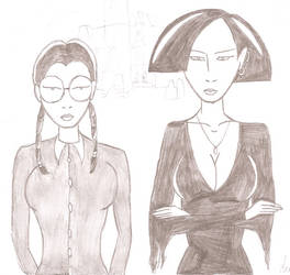 Daria and Jane as Wednesday and Morticia by JimmyTwoTimes2K9