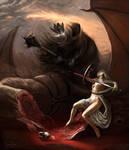 Eowyn and the Nazgul by Aledin