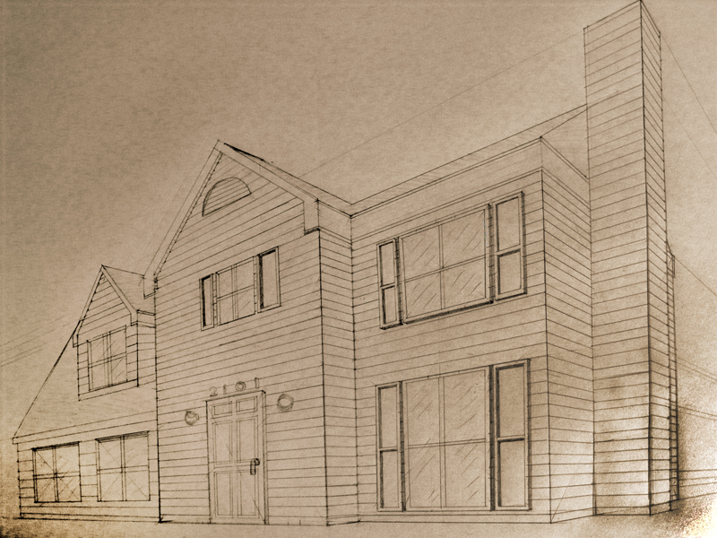 how to draw a cottage house in two point perspective