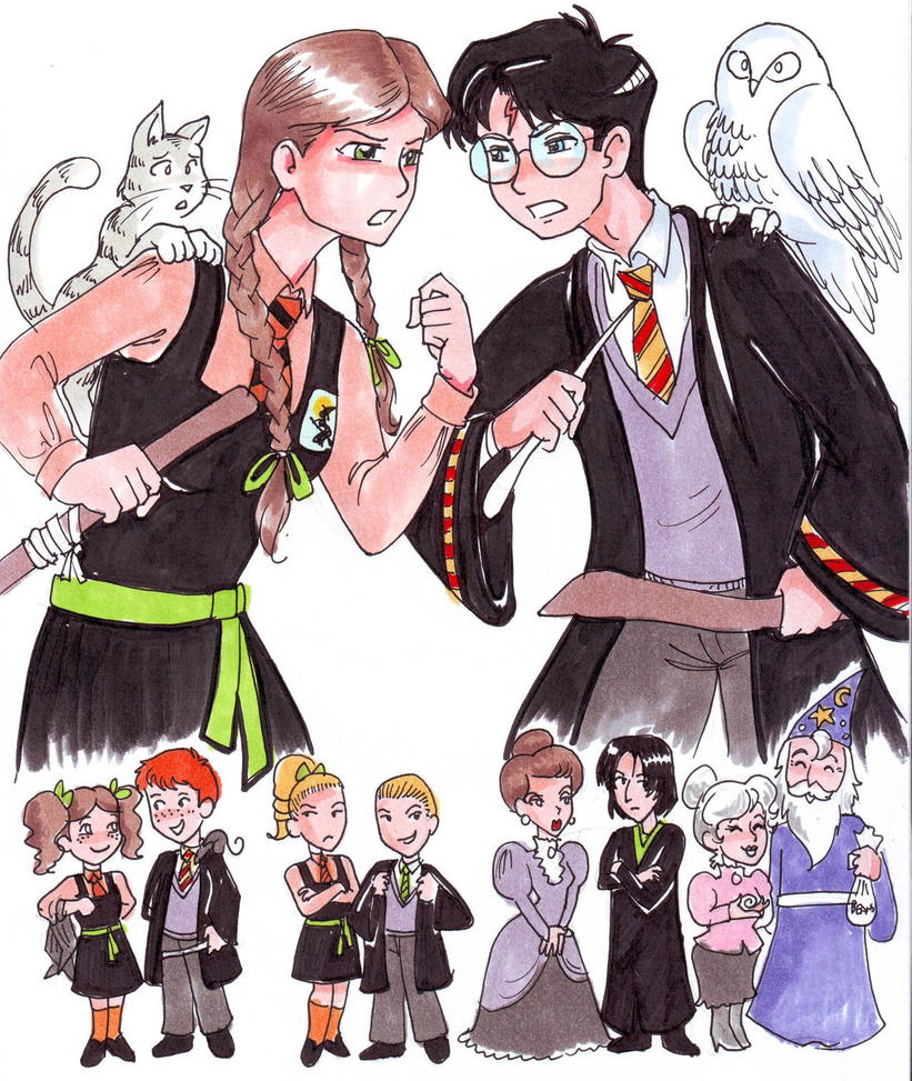 """Фанарт по """"Самой плохой ведьме"""" - Страница 3 Worst_witch_vs_harry_potter_by_zaionczyk-d3z7aw7"""