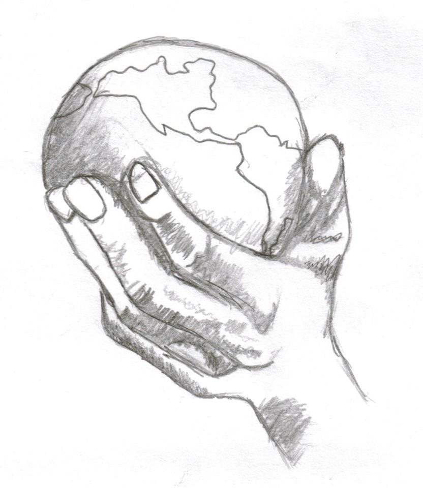 Sketch Hands Holding Earth Coloring Pages