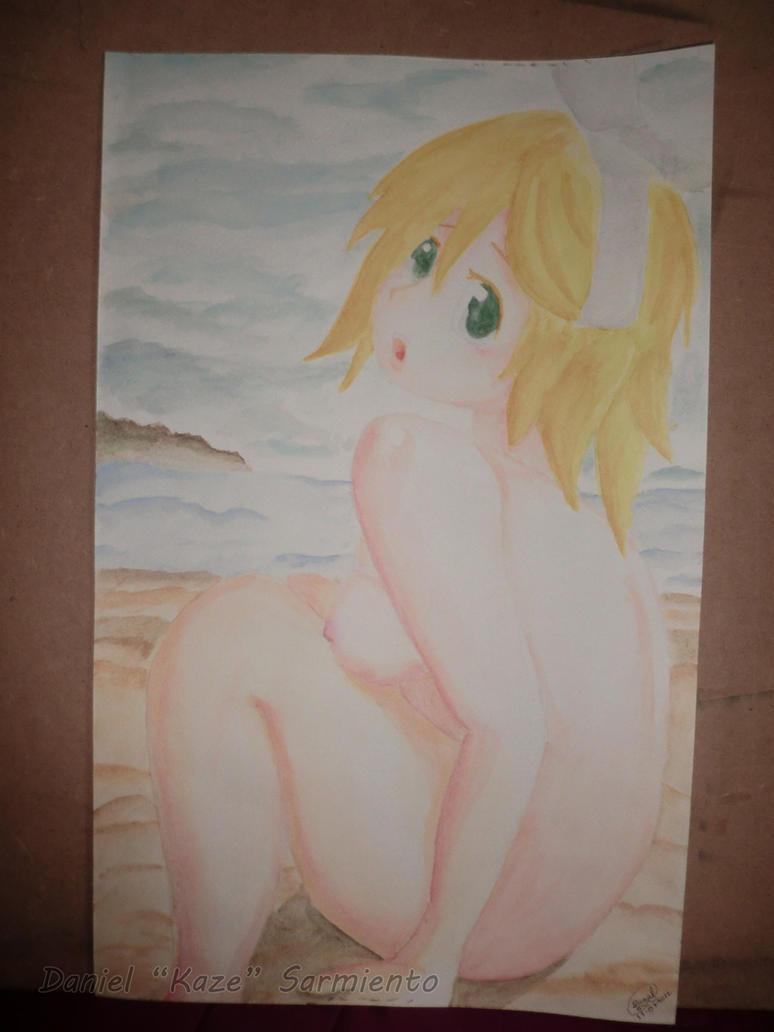 Rin desnuda en la playa (en acuarela) by DanielKaze