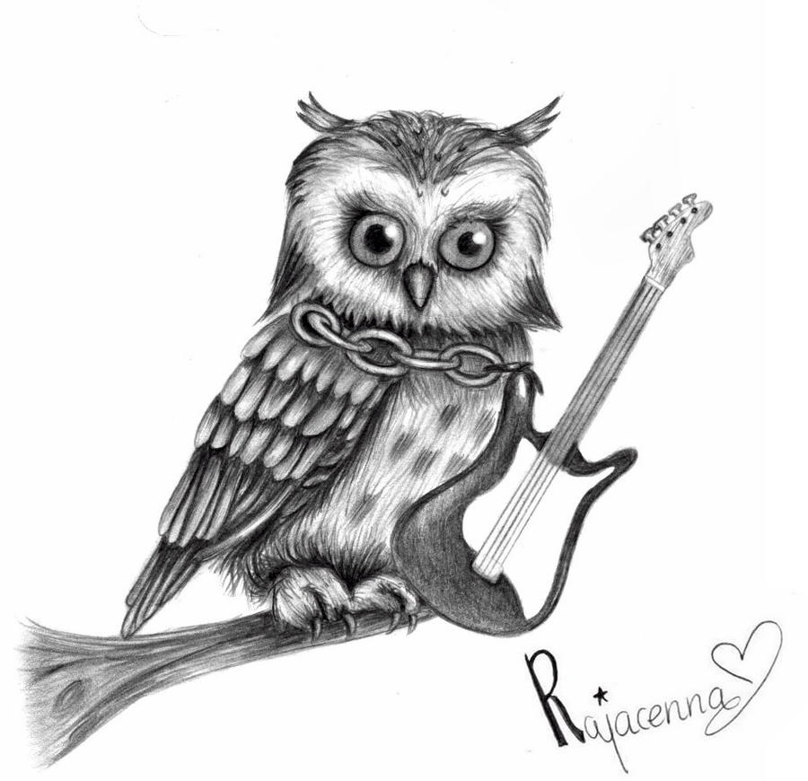 owl playing the guitar - photo #26