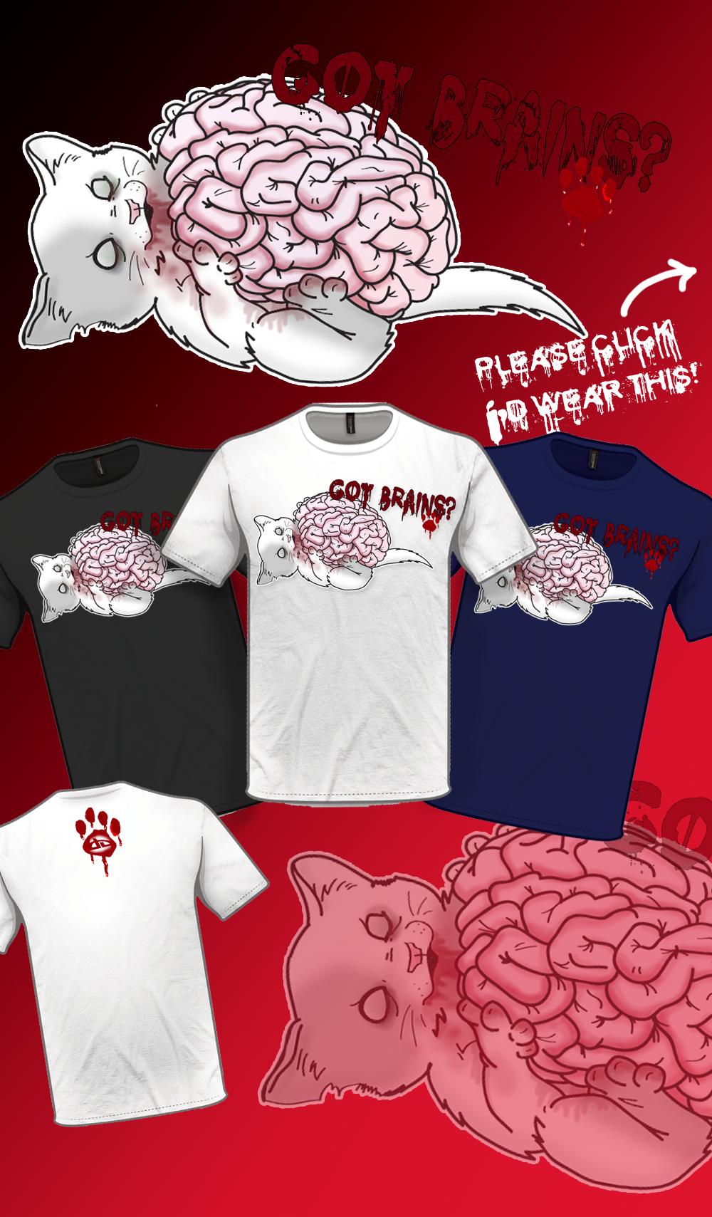 Got Brains? Kitty Zombie by bellajynx