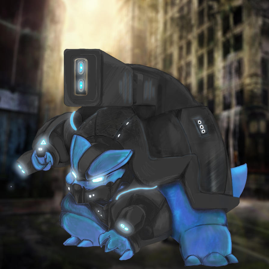 Cyborg Blastoise Commission by evalunaofficial