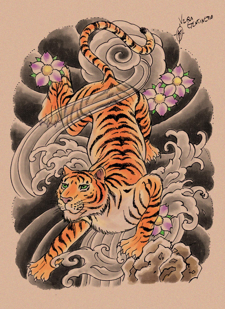 Tiger tattoo design by whiteshaixTraditional Japanese Tiger Tattoos