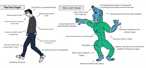 First Virgin vs Last Chad (Last and First Men) by Vanga-Vangog