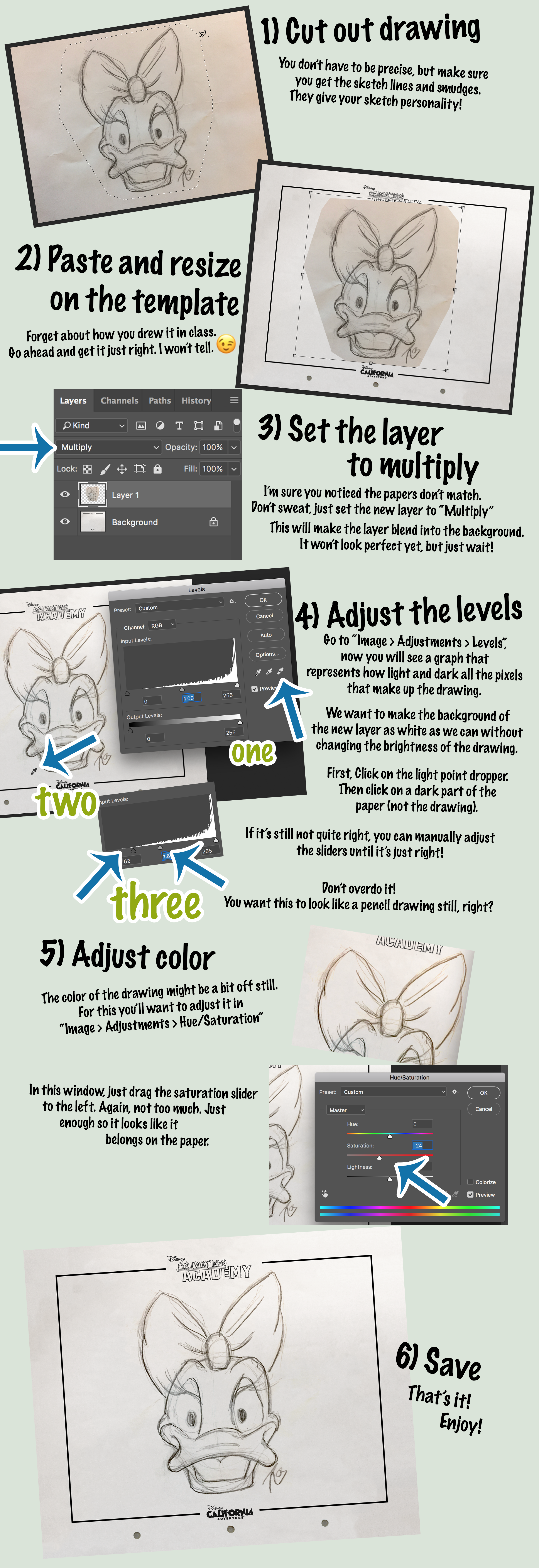How to Use the Disney's Animation Academy Template