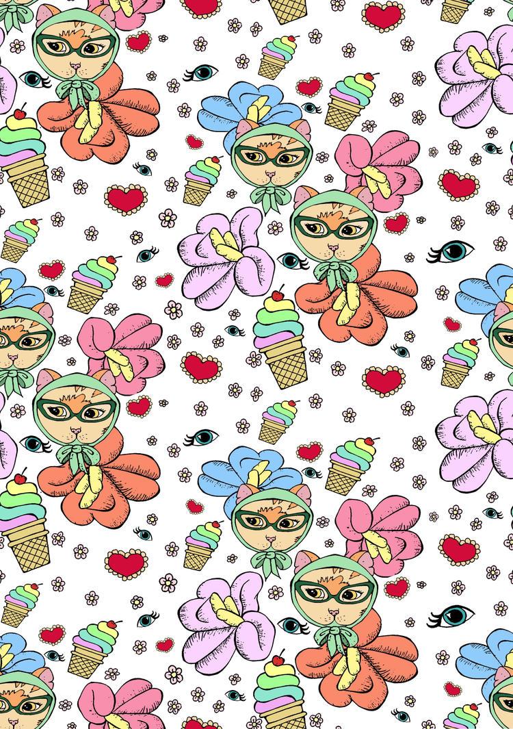 Kitsch Cat Pattern by sam-bull