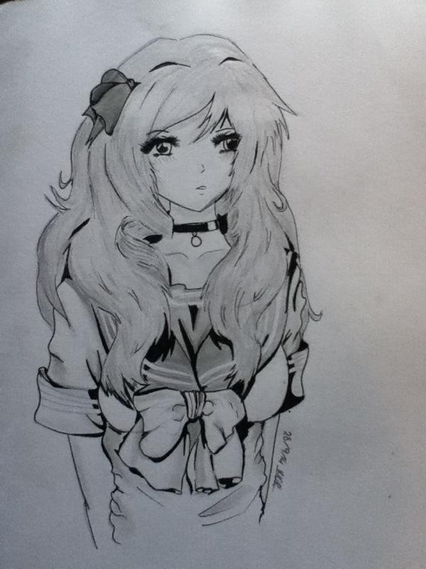 anime school girl by MeganUzumaki