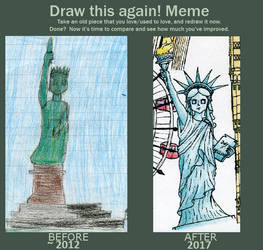 Before and After meme --Statue of liberty-- by EmissixD
