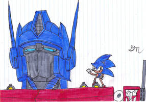 Sonic and Optimus coloured by lol20