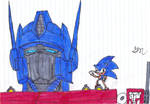 Sonic and Optimus coloured