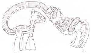 Kaa Pony and Twilight Sketch