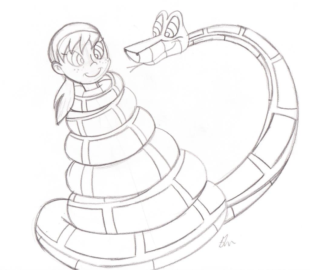 Kaa Meets April Sketch 2012 Version By Lol20 On Deviantart-9524