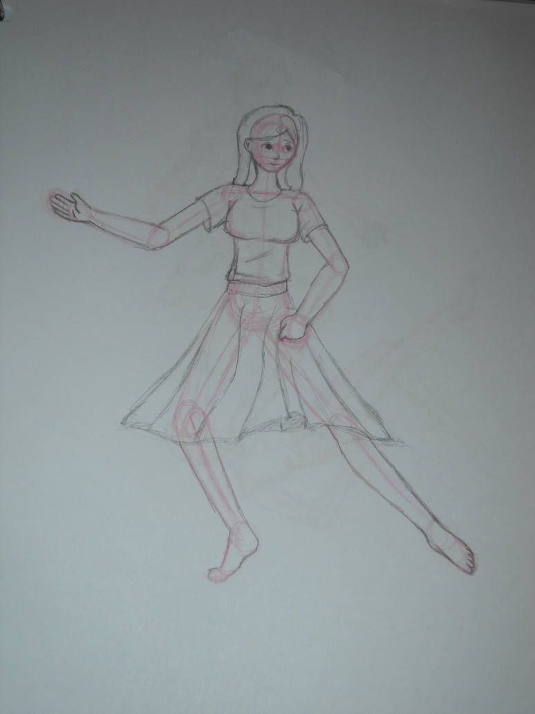Dancing girl red pencil sketch by ava oakheart on deviantart