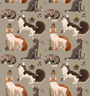 Cat and Cacti pattern
