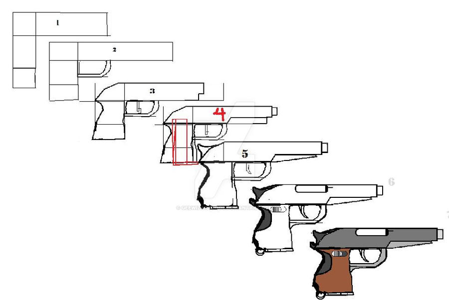 How to draw a simple pistol by geewizartcool