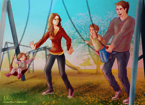 Castle and Beckett pushing their kids on the swing