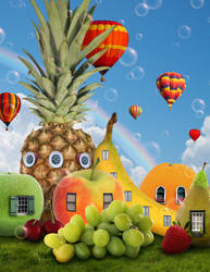 Fruit City - Matte Painting by ErbyDraws
