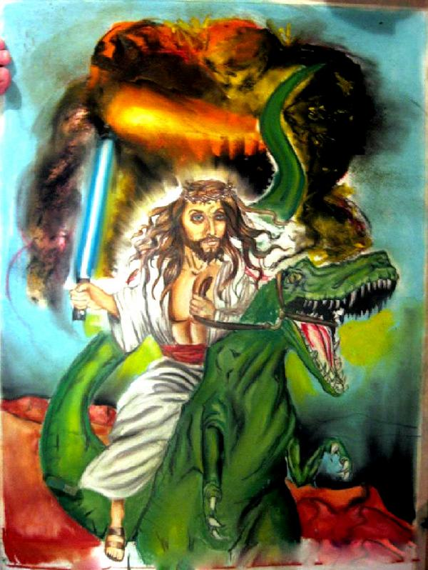 jesus riding a dinosaur by angelazilla