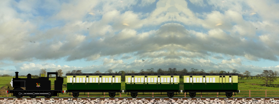 Jinty pulls Old Coaches through the countryside by Galaxy-Afro