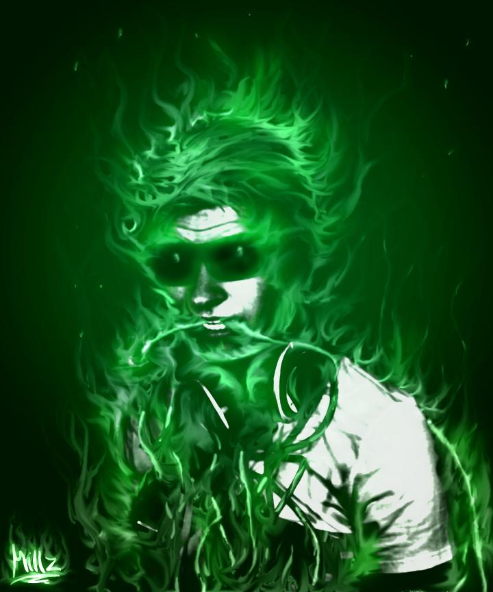 Green Skull On Fire By RyMillz