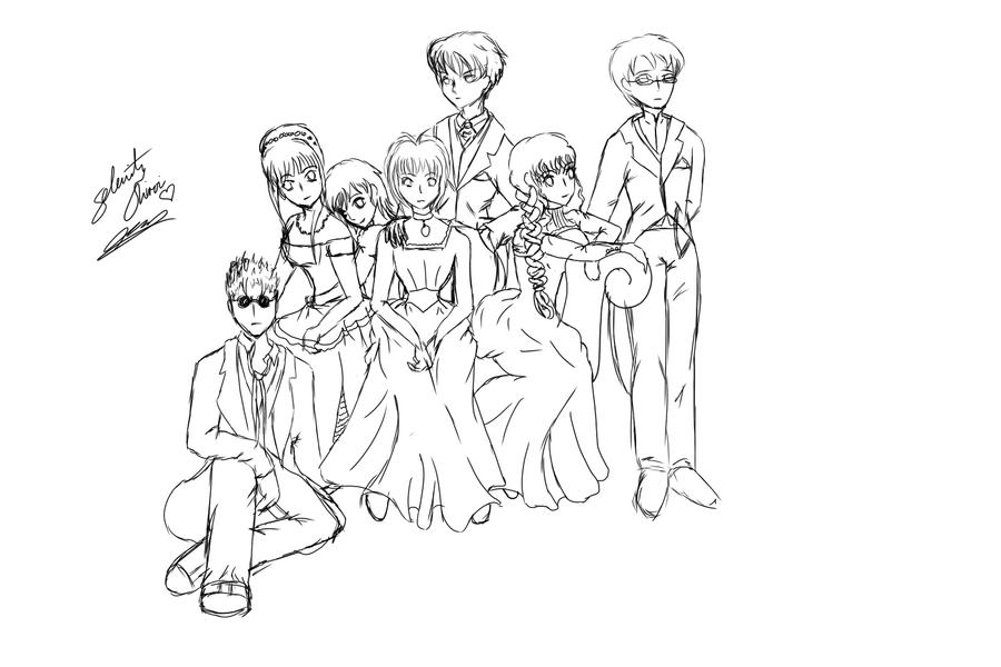NT Victorian Party Rough Sketch by selenityshiroi