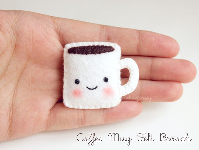 Coffee Mug Felt Brooch by whitefrosty