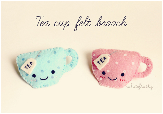 Tea Cup Felt Brooches by whitefrosty