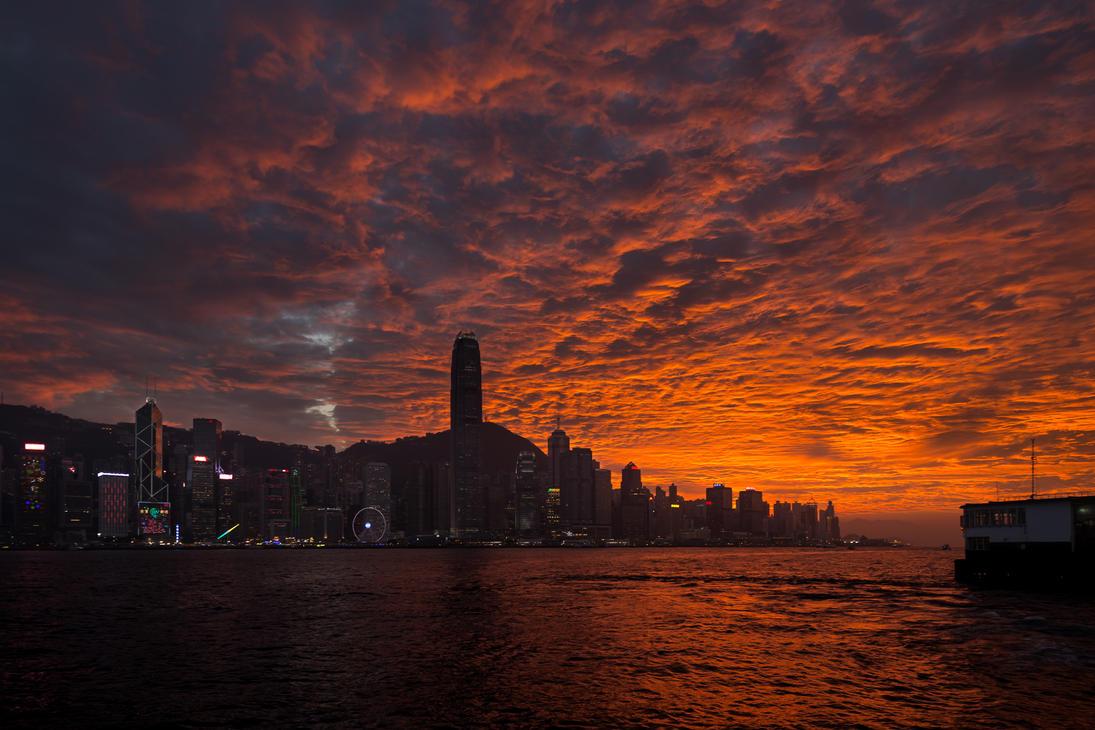 Hong Kong sunset by albertsphotos