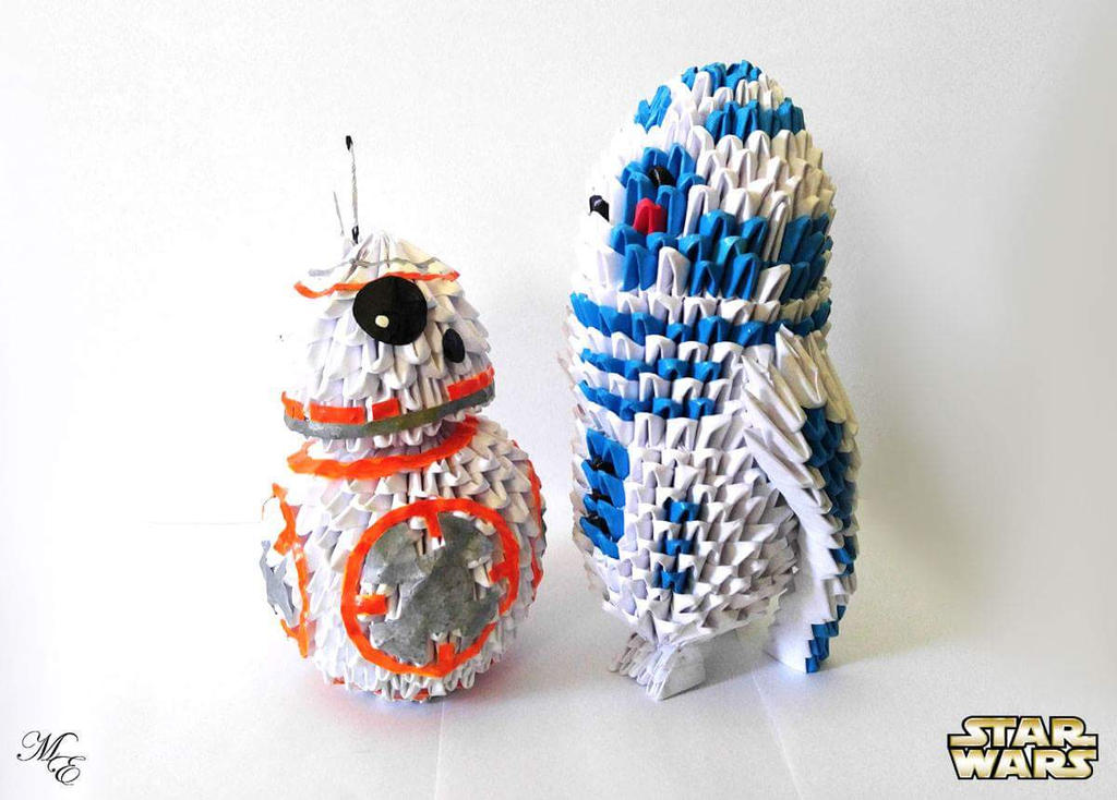 3d Origami Bb 8 Meets 3d Origami R2 D2 By Mystik Elements On Deviantart