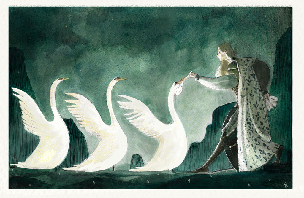 Tuor and the swans by Pigliamosche