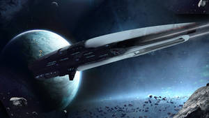 Hexanity -  Alliance ship pass Asteroid field