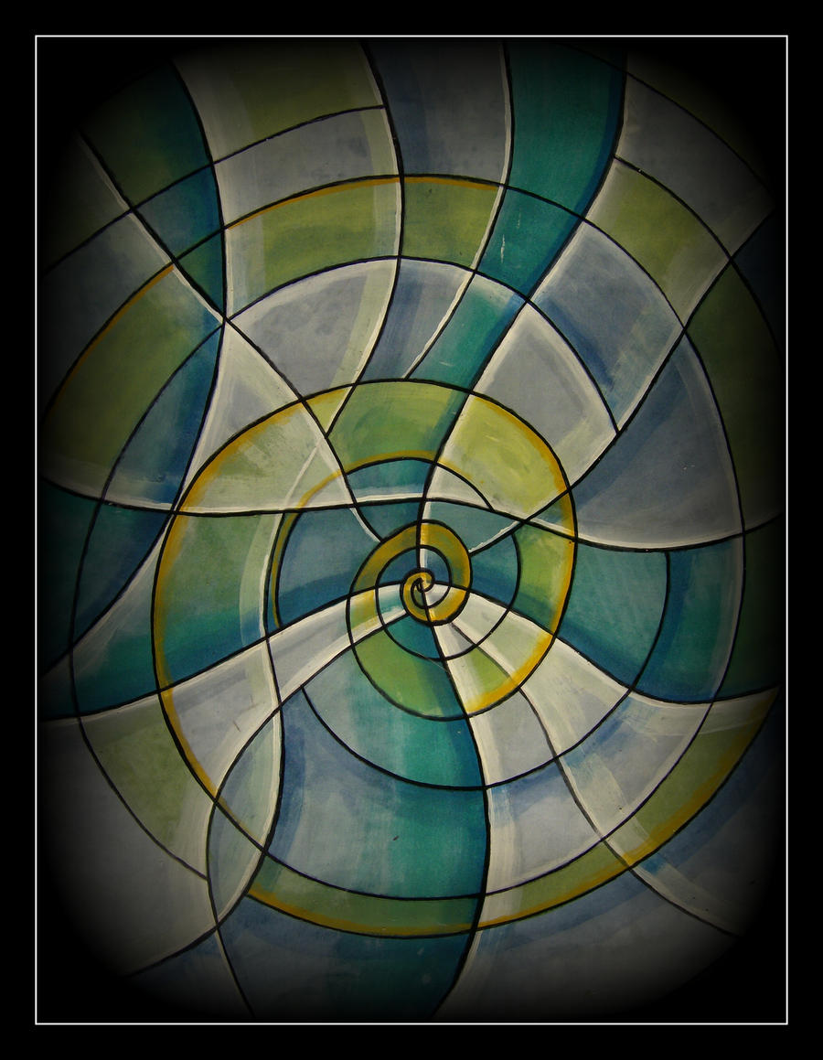 oldpaintingrevisited abstract spiral green white by santosam81