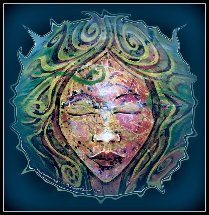 oldpaintingrevisited mars meditation digital blue by santosam81
