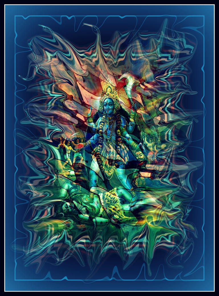 oldpaintingrevisited kali shiva blue digital by santosam81