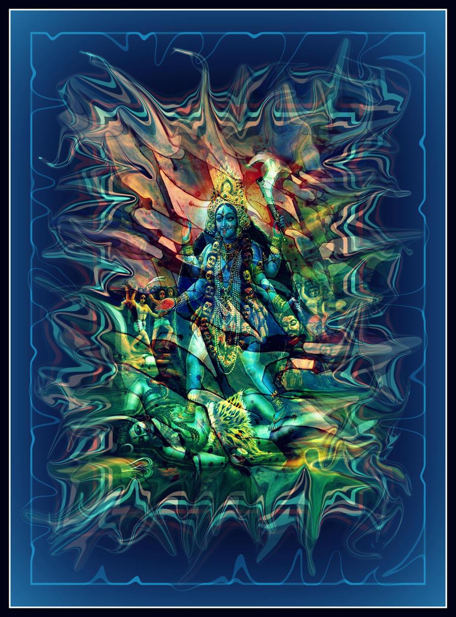 oldpaintingrevisited kali shiva blue digital by santosam81