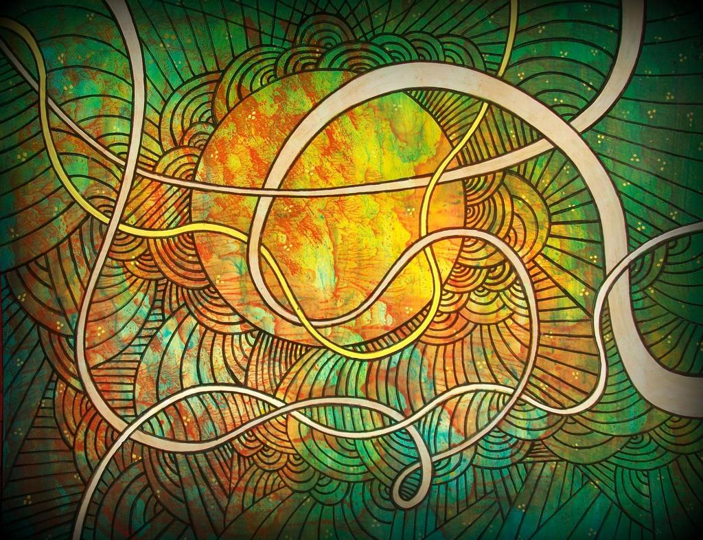 cosmic dna w yellow sun n green galaxy by santosam81