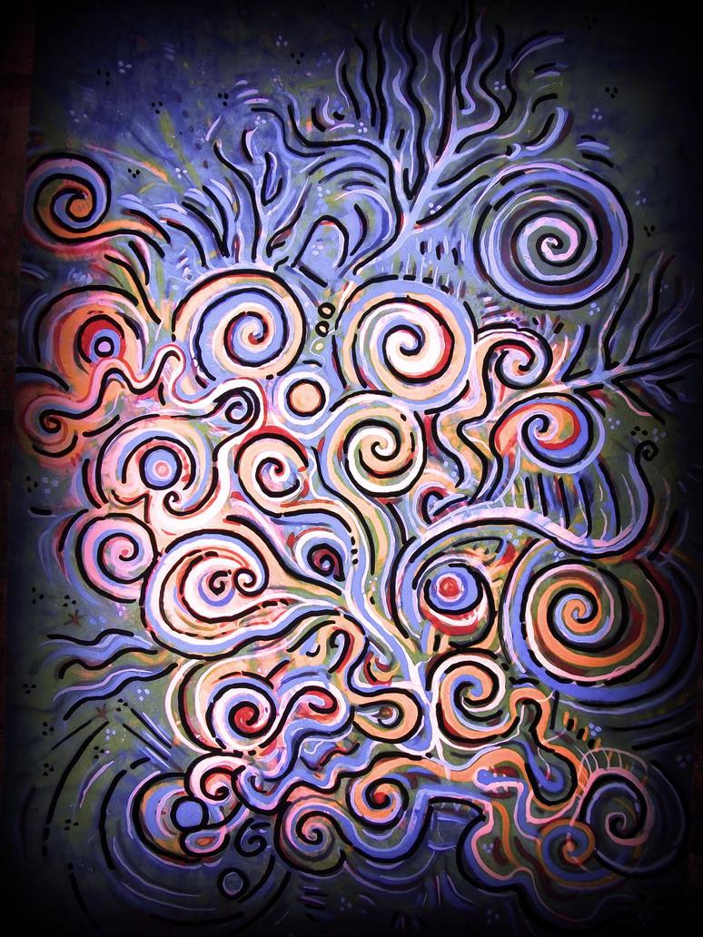 spiral tree purple sky by santosam81