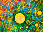 moon, blue red cosmos, yellow spirals by santosam81