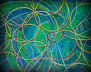 yellow ring flower of life spiral in blue