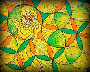 spiral flower of life green yellow orange